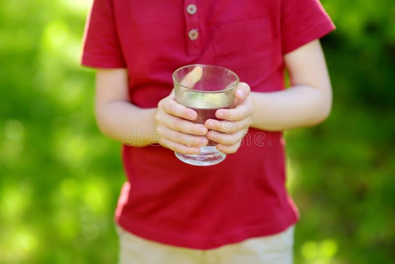 Vidro bebendo do rapaz pequeno da água no dia de verão ensolarado quente no jardim do quintal ou da casa imagens de stock