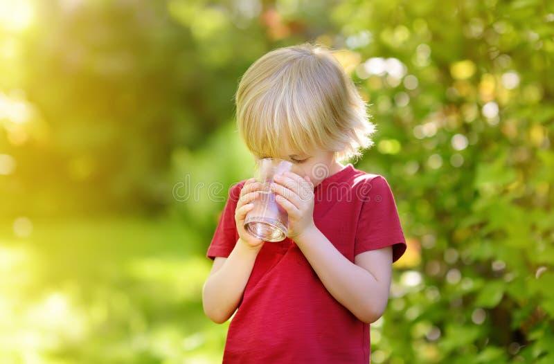 Vidro bebendo do rapaz pequeno da água no dia de verão ensolarado quente no jardim do quintal ou da casa foto de stock