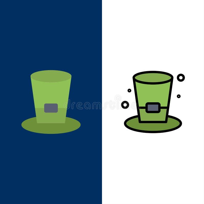 Vidro, bebida, vinho, ícones da cerveja O plano e a linha ícone enchido ajustaram o fundo azul do vetor ilustração stock
