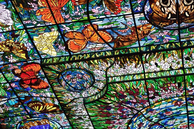 Vidro colorido em Xcaret, México fotografia de stock royalty free