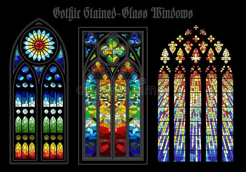 Vidro colorido gótico Windows do vetor ilustração stock