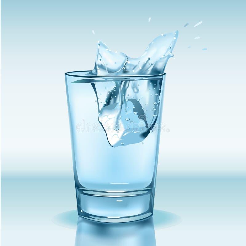 Vidro com água e gelo ilustração stock
