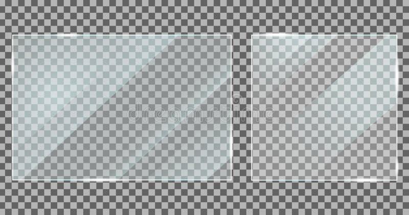 Vidro com efeito de reflexão no estilo de mockup Textura acrílica e de vidro com brilho Moldura digital da janela com luzes brilh ilustração royalty free