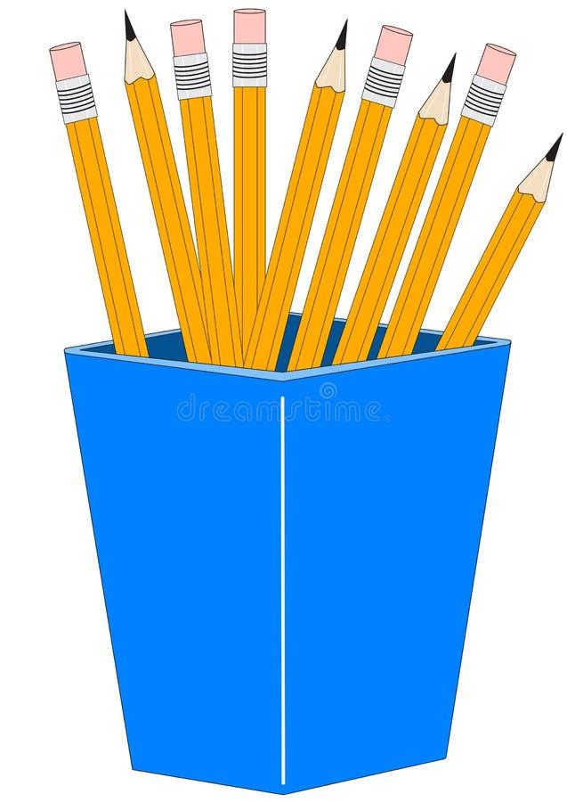 Vidro com lápis ilustração do vetor