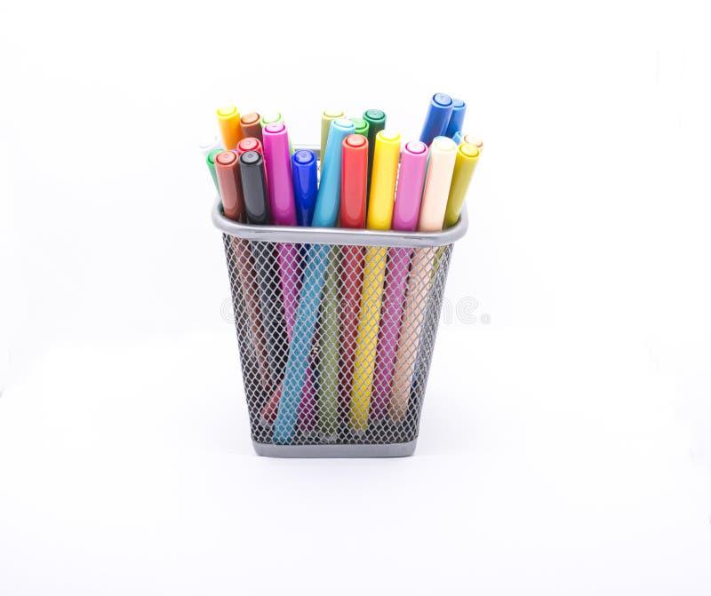 Vidro com lápis imagens de stock royalty free