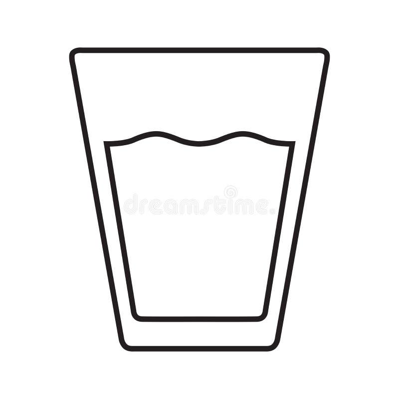 Vidro com linha ícone da palha do preto ilustração stock