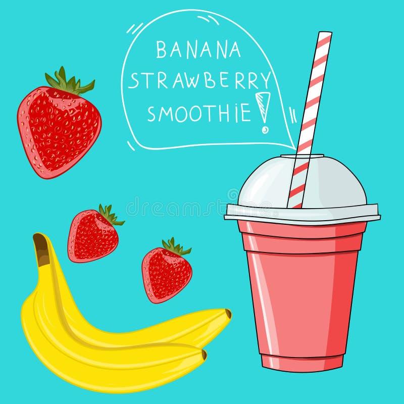Vidro com o batido da morango da banana Bio bebida natural, saúde ilustração do vetor