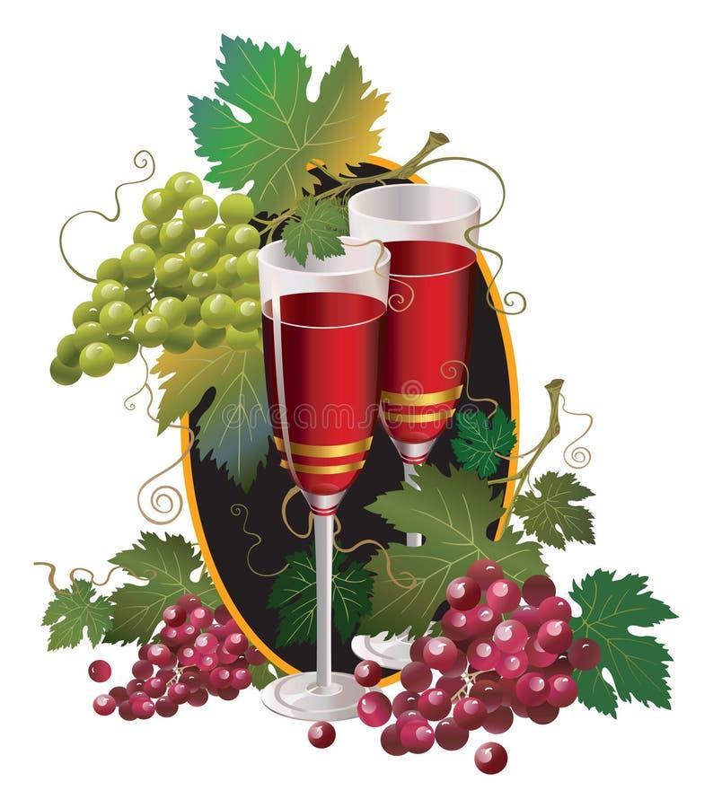Vidro com vinho e a uva vermelha ilustração do vetor