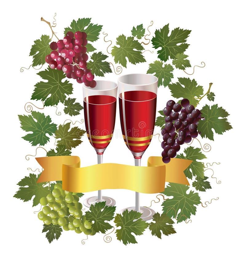 Vidro com vinho e a uva vermelha ilustração stock