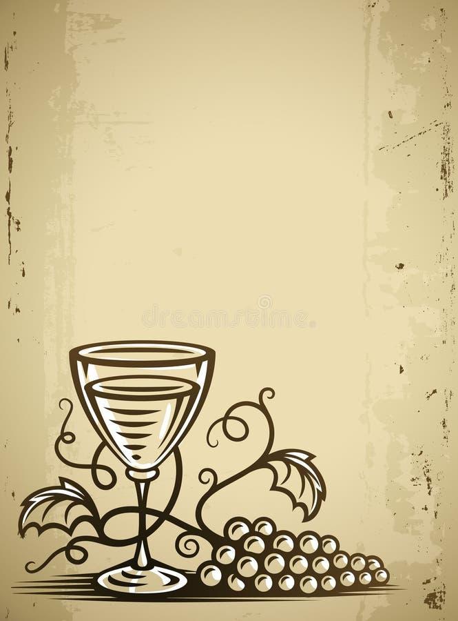 Vidro com vinho e vinha ilustração stock