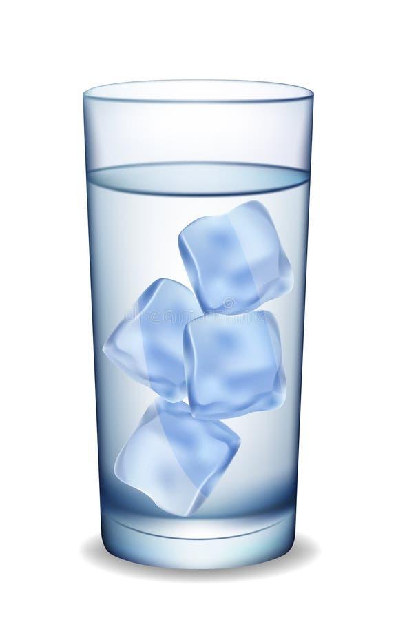 Vidro da água com gelo. ilustração stock