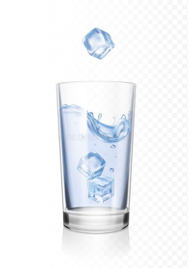 Vidro da água com os cubos de gelo realísticos ilustração do vetor
