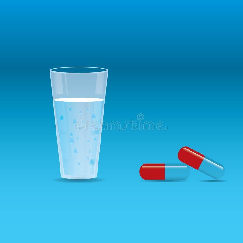 Vidro da água e dos alguns comprimidos ilustração stock
