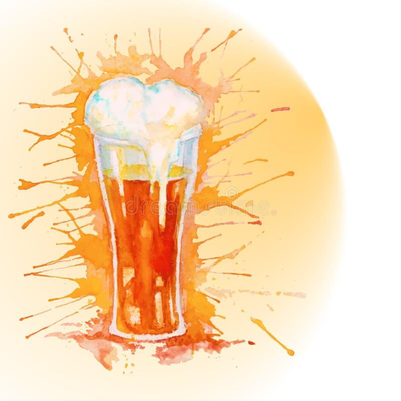 Vidro da aquarela da cerveja - ilustração ilustração royalty free