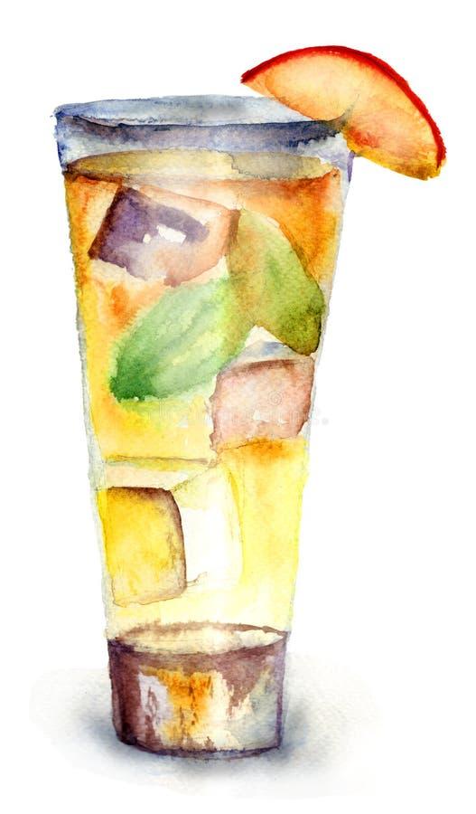 Vidro da bebida com cubos de gelo ilustração royalty free