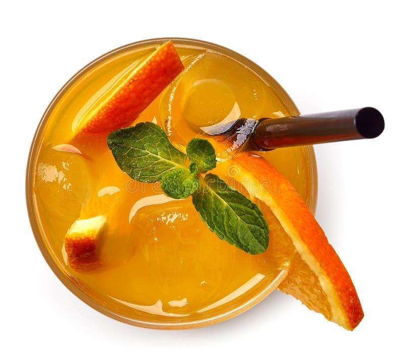 Vidro da bebida da soda alaranjada fotografia de stock royalty free