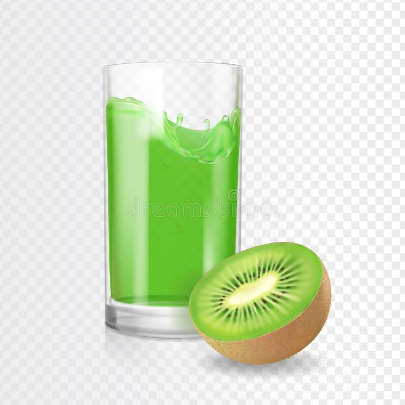 Vidro da bebida do suco do quivi Batidos do kiwifruit de Refreshig Vetor tropical verde do coctail ilustração royalty free