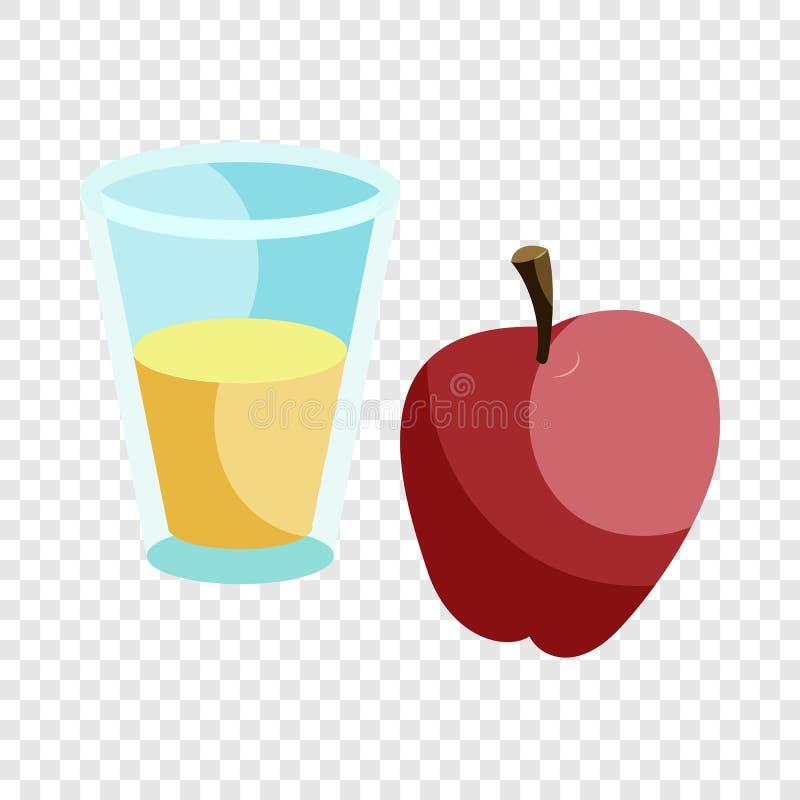 Vidro da bebida e do ?cone vermelho da ma??, estilo dos desenhos animados ilustração royalty free