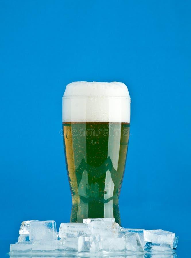 Vidro da cerveja com gelo imagens de stock royalty free