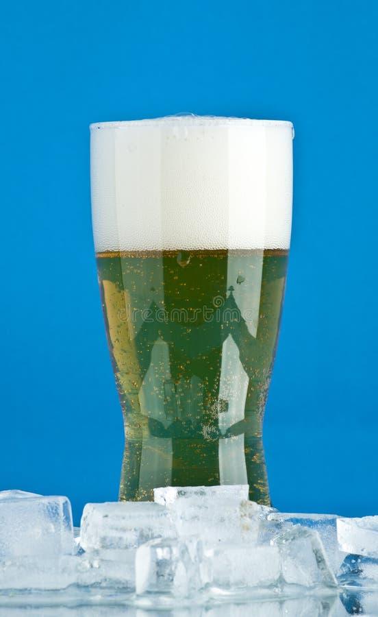 Vidro da cerveja com gelo fotos de stock