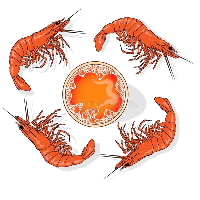 Vidro da cerveja com a ilustração do vetor dos camarões isolada no branco ilustração do vetor