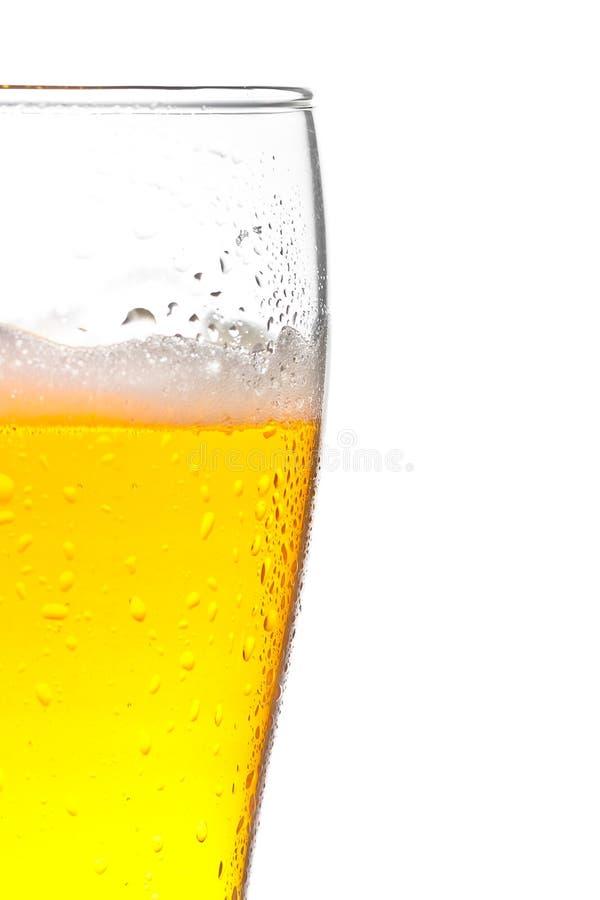 Vidro da cerveja fresca e das gotas no fundo branco fotos de stock royalty free