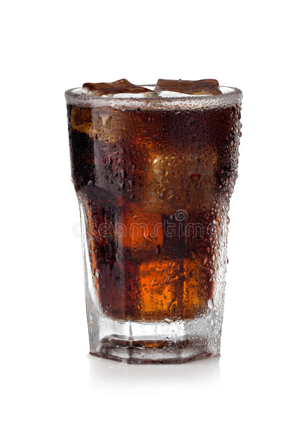 Vidro da cola com cubos de gelo imagem de stock royalty free