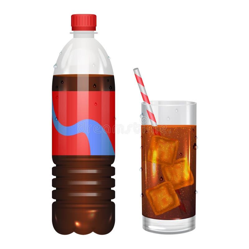 Vidro da cola com cubos de gelo e da cola na garrafa Vetor ilustração royalty free