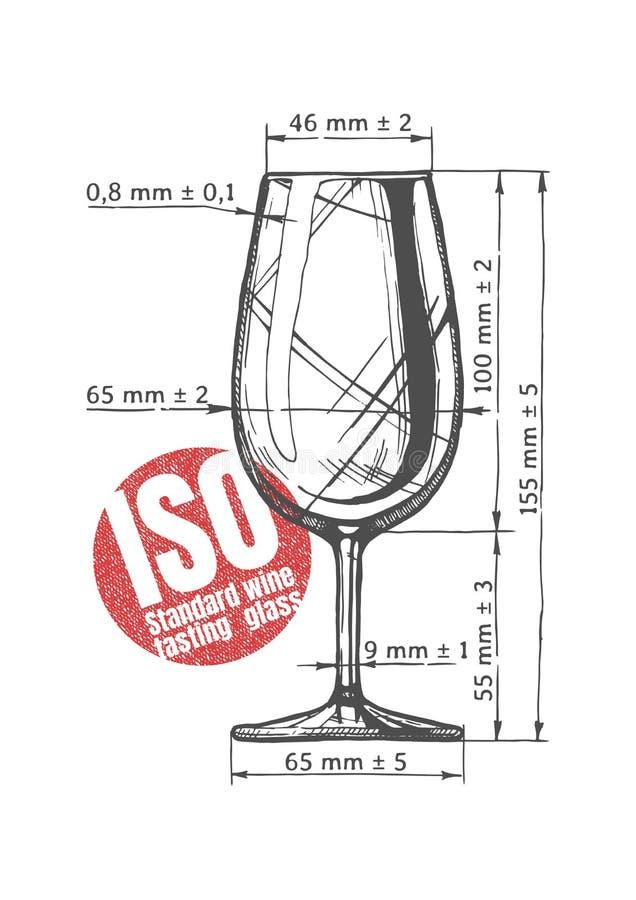 Vidro da degustação de vinhos do padrão de ISO ilustração royalty free