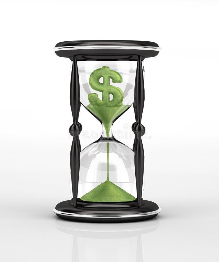 Vidro da hora com areia de queda, dólar dado forma. ilustração royalty free