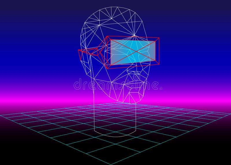 Vidro da realidade virtual 3D da caixa de VR para os jogos 3D e os filmes 3D fundo retro da ficção científica 80s com auriculares ilustração do vetor