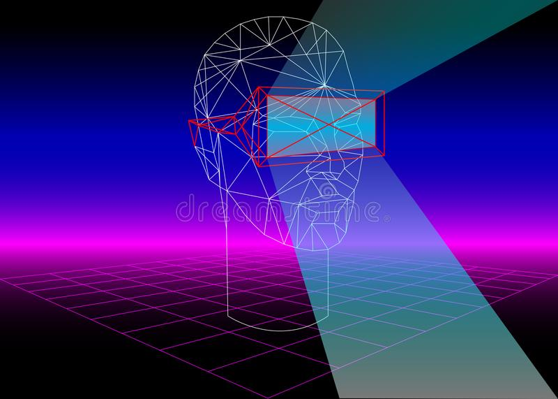Vidro da realidade virtual 3D da caixa de VR para os jogos 3D e os filmes 3D fundo retro da ficção científica 80s com auriculares ilustração stock