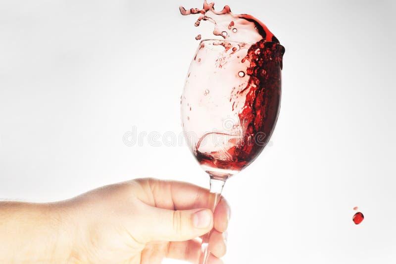 Vidro da terra arrendada da mão com vinho fotografia de stock