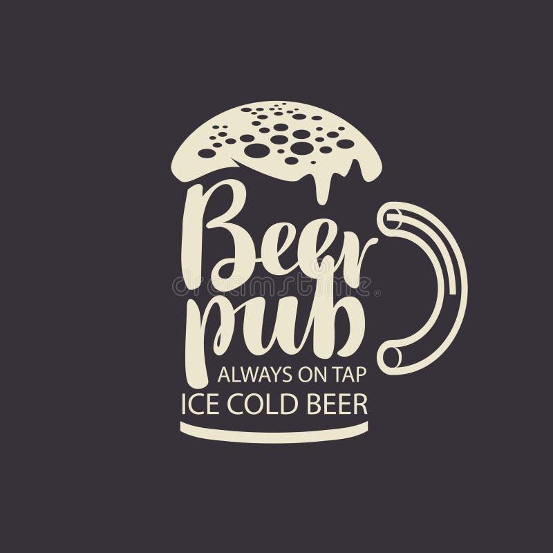 Vidro de cerveja das inscrição para o bar ilustração stock