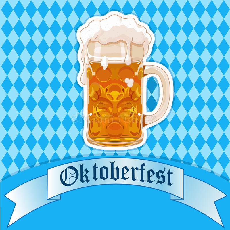 Vidro de cerveja de Oktoberfest ilustração royalty free