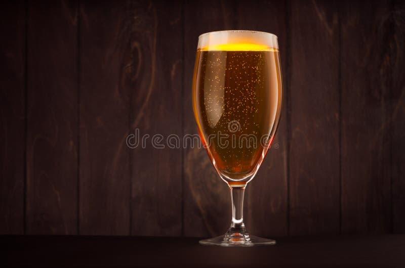 Vidro de cerveja do cálice com cerveja pilsen efervescente dourada na placa de madeira escura, espaço da cópia fotografia de stock royalty free