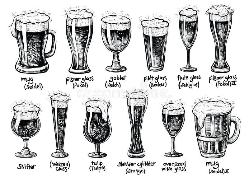 Vidro de cerveja e tipos das canecas Ilustrações tiradas mão do vintage do vetor ilustração royalty free