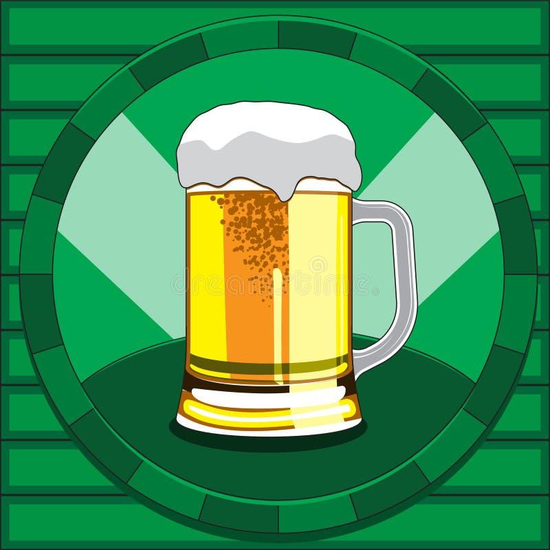 Vidro de cerveja espumoso do vetor Ilustra??o de vidro do ?cone da bebida do ?lcool ilustração royalty free