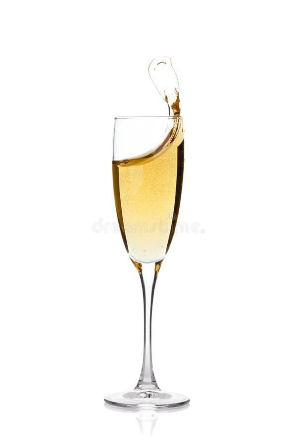 Vidro de Champagne com respingo foto de stock