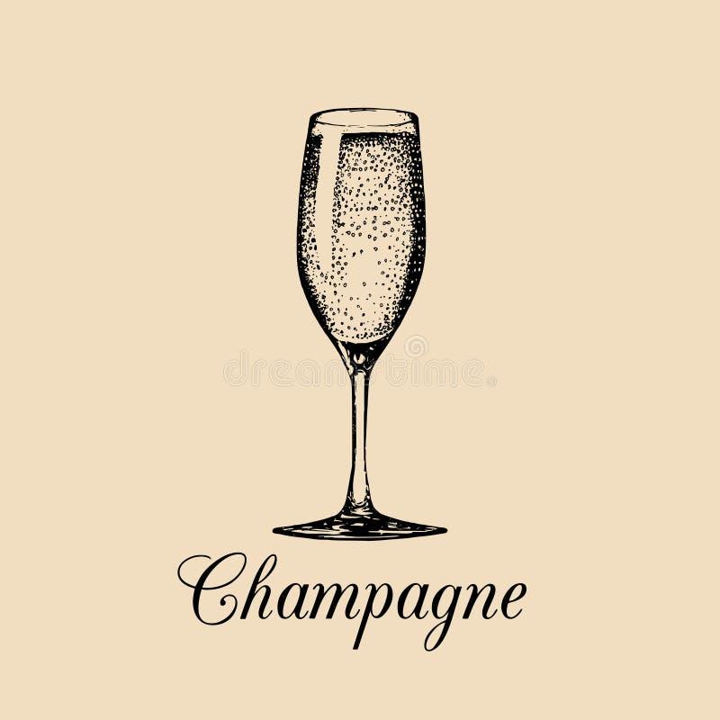 Vidro de Champagne isolado Esboço tirado mão do vetor do spumante Logotipo da bebida alcoólica Um sinal branco do vinho espumante ilustração do vetor