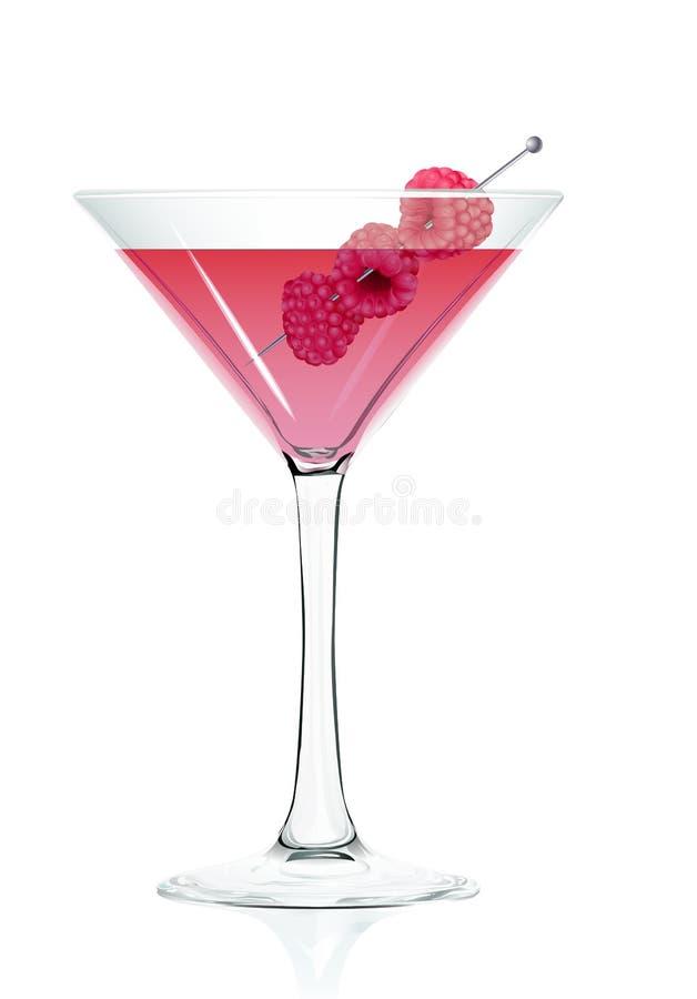 Vidro de cocktail de uma framboesa. ilustração stock