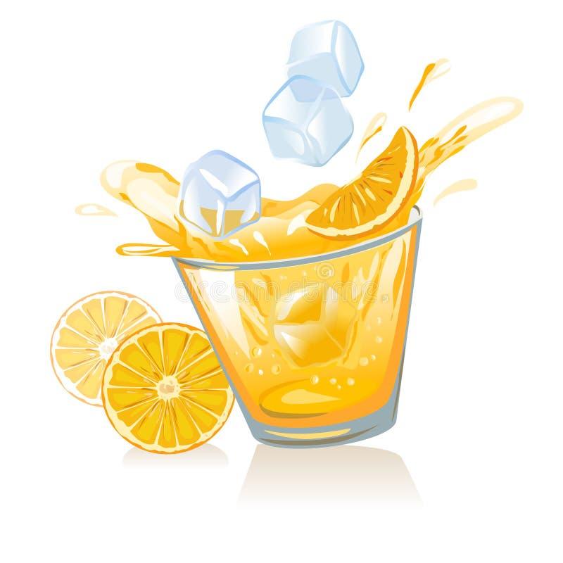 Vidro de cubos do suco de laranja e de gelo ilustração do vetor