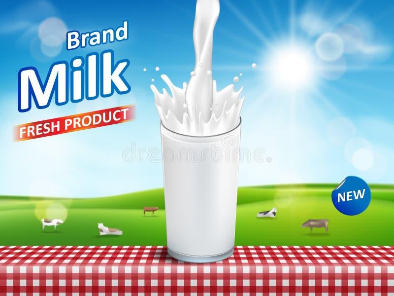 Vidro de leite com o respingo isolado no fundo do bokeh com vacas Projeto de pacote dos produtos de leite Ilustração do vetor da  ilustração royalty free