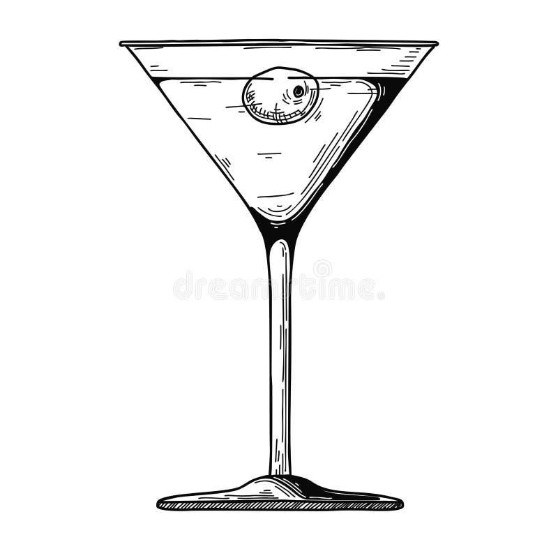 Vidro de Martini com azeitona Ilustração do vetor ilustração do vetor