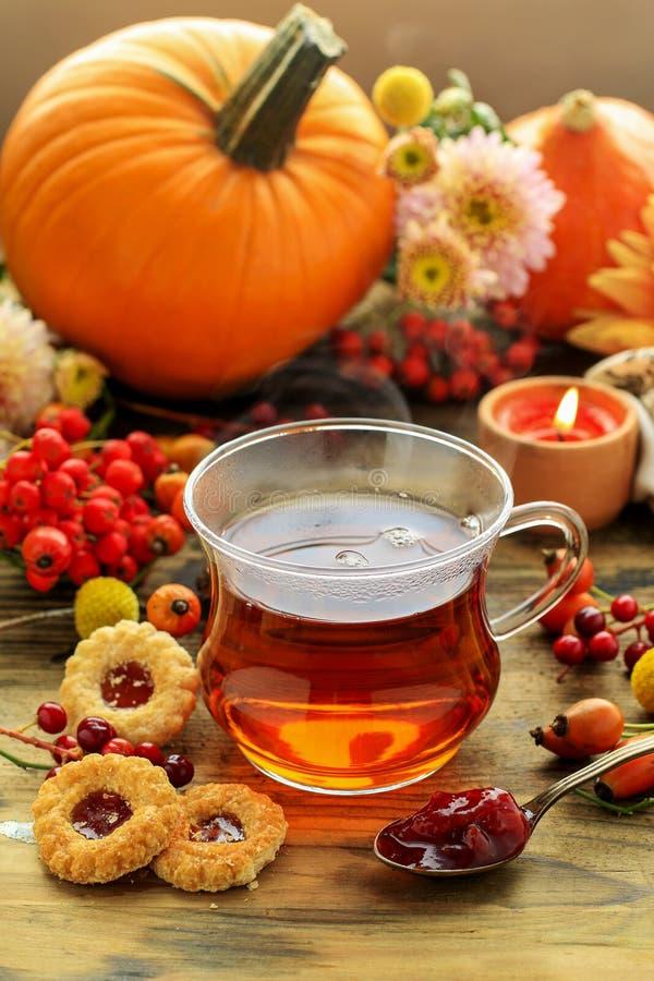Vidro de plantas cozinhando quentes do chá e do outono na tabela de madeira fotos de stock