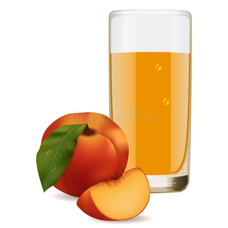 Vidro de refrescar o suco delicioso dos pêssegos maduros ilustração royalty free