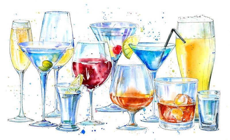 Vidro de um champanhe, de um martini, de um uísque, de uma vodca, de um vinho, de um licor, de uma cerveja, de um conhaque e de u ilustração stock