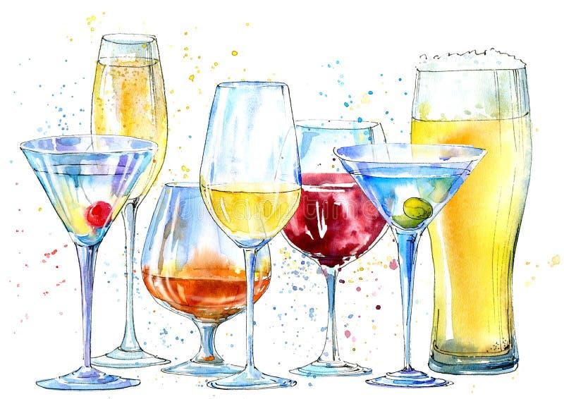 Vidro de um champanhe, martini, vinho, cerveja, conhaque Imagem de uma bebida alcoólica ilustração do vetor