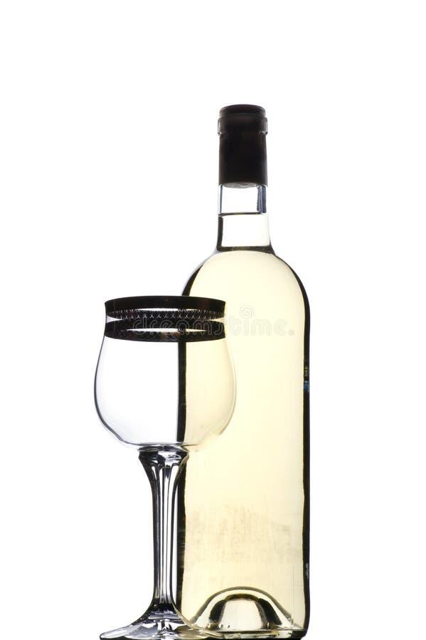 Vidro de vinho branco e bocal fotos de stock