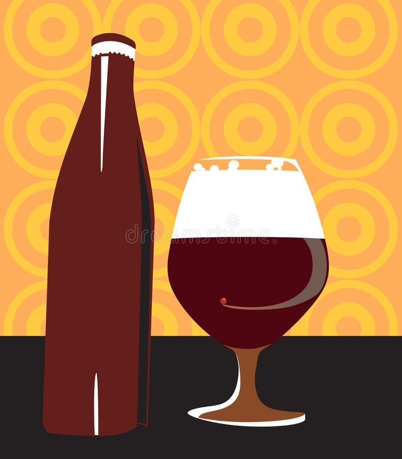 Vidro de vinho com frasco ilustração do vetor